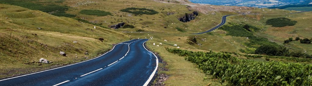 Brecon Beacons road on a Motorcycle tour