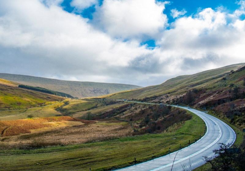 Welsh mountain road . RoadTrip Motorcycle Tour