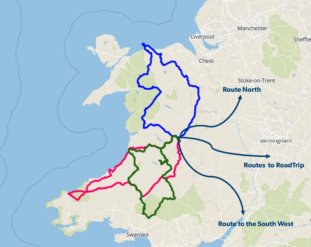Map of ride out routes for RoadTrip Motorcycle tours in Wales