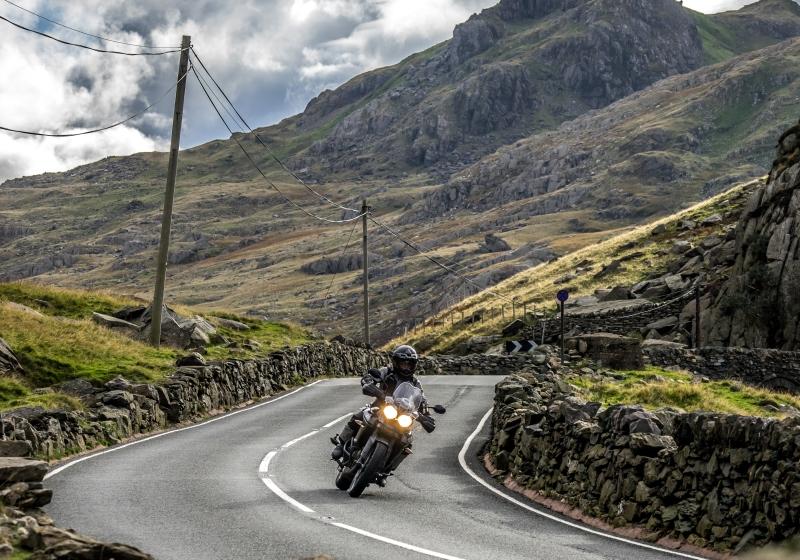 Snowdonia mountain road on a RoadTrip motorcycle tour.