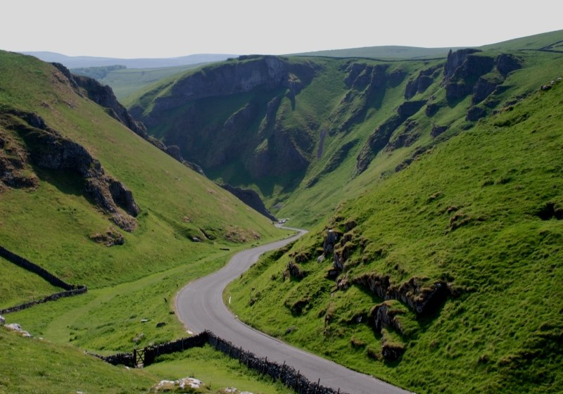 Yorkshire Peak district road through Winnats Pass