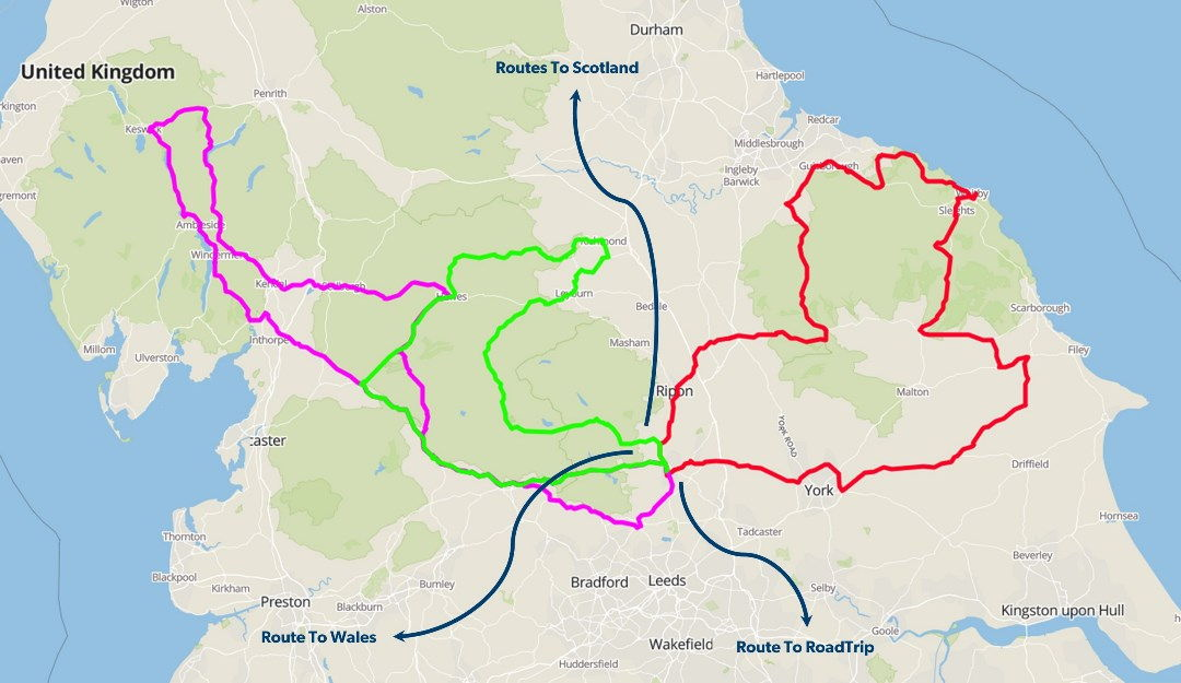 Map of ride-oput routes in Yorkshire and Cumbria