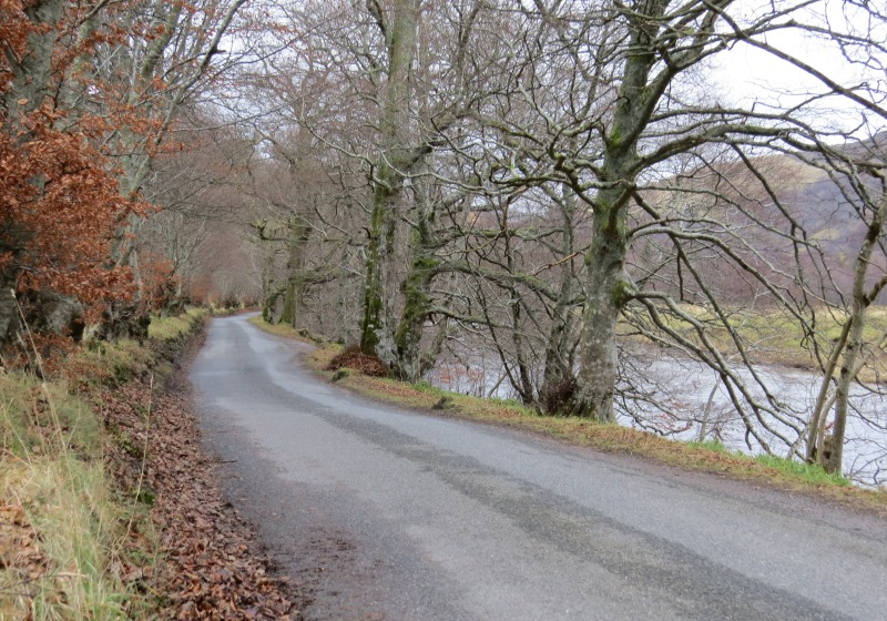 Road beside the river Tay in Scotland