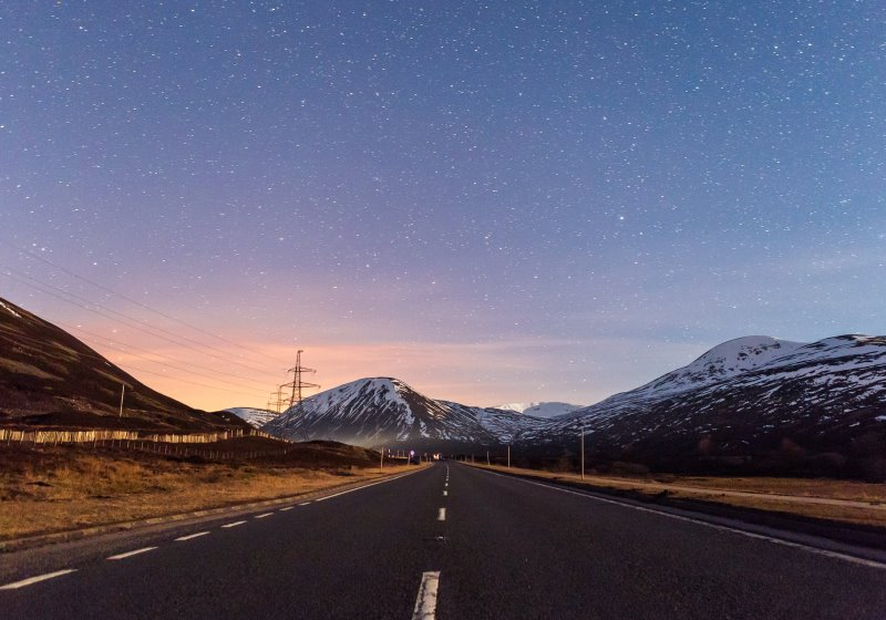Twilight on the A9 near Pitlochry in Scotland