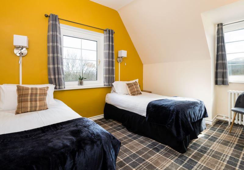 Twin bedroom at a Scottish lochside hotel